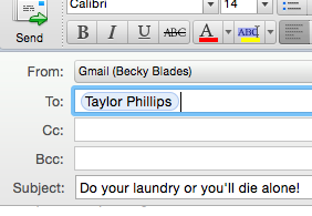 Taylor's email screenshot